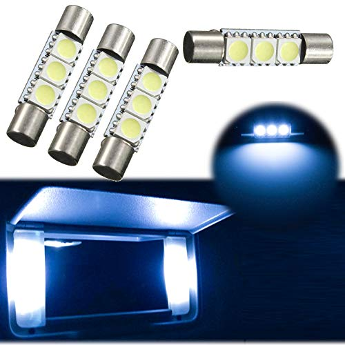 Xotic Tech 4pcs 8000K Ice Blue 3-SMD 6614F 6641 LED Replacement Bulbs for Visor Vanity Mirror Dome Map Lights