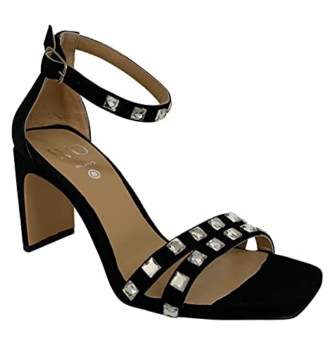 WO MILANO Sandalo Donna Tacco Rivestito camoscio Nero Art 661 Made in Italy (Numeric_40)