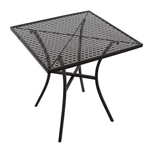 Table de bistrot carrée en acier noir 700 mm