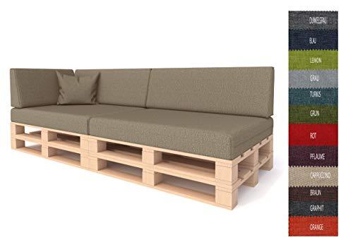 Pillows24 Palettenkissen 6-teiliges Set | Palettenauflage Polster für Europaletten | Hochwertige Palettenpolster | Palettensofa Indoor & Outdoor | Erhältlich Made in EU | Cappuccino