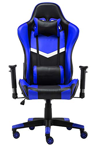 Gaming Chair, PU Leather Swivel Chair Adjustable Height High-Back Reclining Chair with Lumbar Support and Adjustable armrest