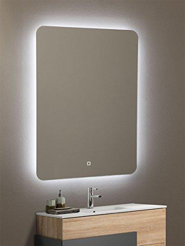 Yellowshop - Specchio Specchiera Cm L.50 x H 70 A Luce LED Retroilluminato Filo Muro Bagno Design Moderno con Touch Modello Back