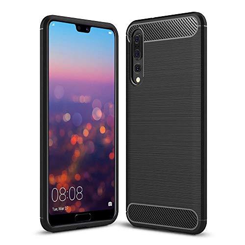 COPHONE® - Cover Nero Compatible Huawei P20 PRO in Fibra di Carbonio, Antiscivolo. Custodia P20 PRO Silicone Molle Black , Anti-Urto