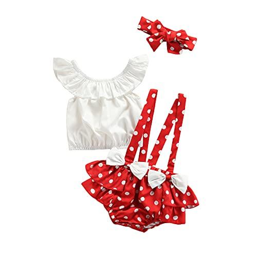 MAHUAOYIXI Conjunto de 3 piezas de verano para bebé con mangas volantes + pantalones cortos con tirantes de lunares + cinta para el pelo rojo 12-18 Meses