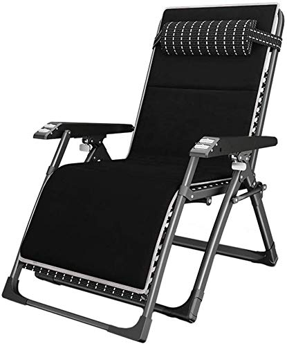 OESFL Reclining Outdoor Folding Chairs Lounge Chair Extra Wide Adjustable Recliner with Massage Armrest, Support 440lbs (Black)