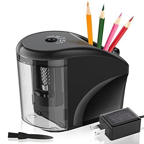 ATCRINICT Upgrade Bleistiftspitzer, Elektrischer Anspitzer mit Behälter, Tragbarer Elektrischer Spitzer für Bleistifte Nr.2 / (6-8mm) mit Auto-Stopp & Bürste für Zuhause Schule Klassenzimmer Büro