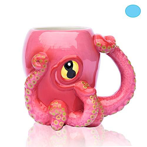 Comfify Oktopus Rosa Keramik Kaffeetasse - wie in Criminal Minds gesehen - mit 8 3D-Tentakelgriff und großem Auge Cthulhu-Spieler und -Fans - 12 oz.