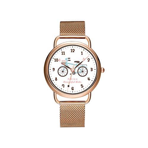 Dameshorloges merk dames mesh riem ultradun horloge waterdicht horloge kwartshorloge Kerstmis Bert gezicht met vreugdetranen polshorloges