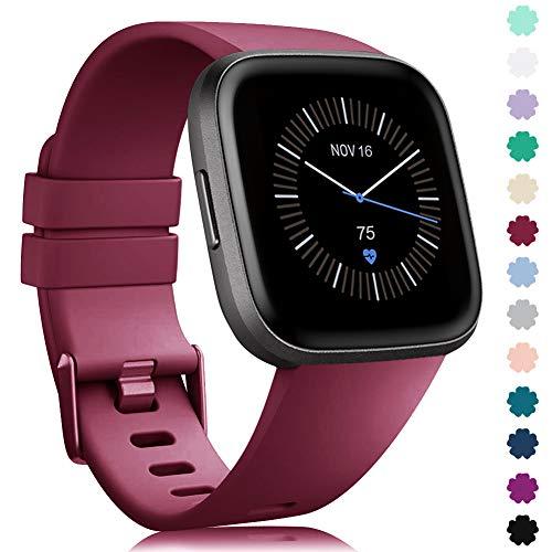 Preisvergleich Produktbild Onedream Kompatibel mit Fitbit Versa Armband & Versa Lite Armband Damen Herren - Weich Ersatzarmband Silikon Armbänder für Fitbit Versa Special Edition Sport Zubehör (Sangria,  L)