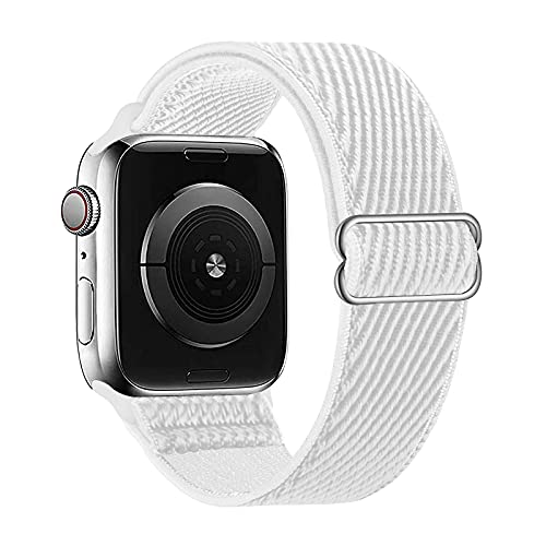 Lobnhot Solo Loop kompatibel mit Apple Watch Armband 38mm 40mm, verstellbares elastisches Nylon Armband für iWatch Series 6/5/4/3/2/1 SE (38/40MM-Weiß)