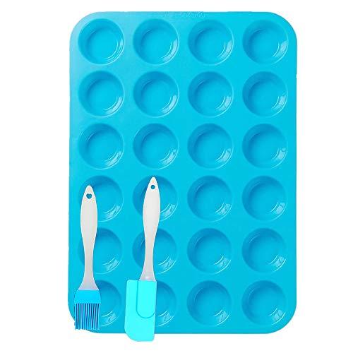 DSTong Muffinblech aus Silikon für 24 Mini Muffins und 1 X Spatel,Silikon Muffinform für Cupcakes, Brownies, Kuchen, Pudding - Antihaft & Leicht zu Reinigen (24Cavity/1pack-blue)