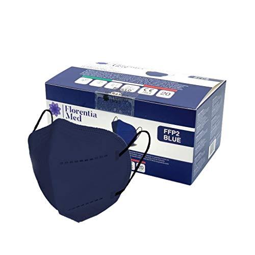 Florentia Med Máscaras FFP2 AZULES MADE IN ITALY Certificación CE Categoría EPI: III, conforme a EN 149: 2001 + A1: 2009. Caja de 20 piezas Empaquetada y sellada individualmente