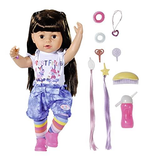 Zapf Creation 830352 BABY born Sister brunette 43cm - Puppe mit lebensechten Funktion und langen blonden Haaren zum Kämmen und Frisieren mit Jumpsuit, Leggings und viel Zubehör