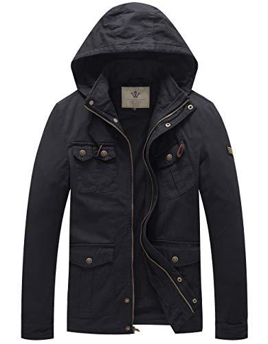 WenVen Men's Cotton Military Autumn Hooded Jackets (Black,XL)