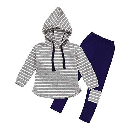 Allence Kinder Unisex Baby 2 Stück Bekleidungsset Herbst Neugeborenes Baby Jungen Mädchen Tiere Gestreift Print T-Shirt Tops Set Casaul Kleidung Sweatshirt Hoodie