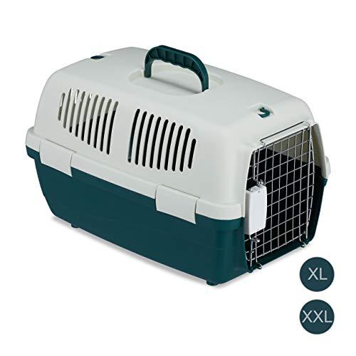 Relaxdays transportbox voor huisdieren, dierenbox voor kleine honden, katten, kleine dieren, vliegen & reizen, 30x30x47cm, wit-groen