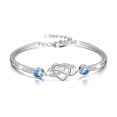 Infinity Bracelet Sterling Silver Love Heart Adjustable Bangle Bracelet with Swarovski Crystals, Birthday Friendship Wedding Anniversary Gifts for Her Women Wife Girlfriend Mum (Simulated Aquamarine)