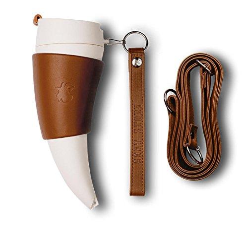 GOAT STORY Kaffeebecher, Kunststoff, Braun Echtes Leder, 12 oz (350ml)