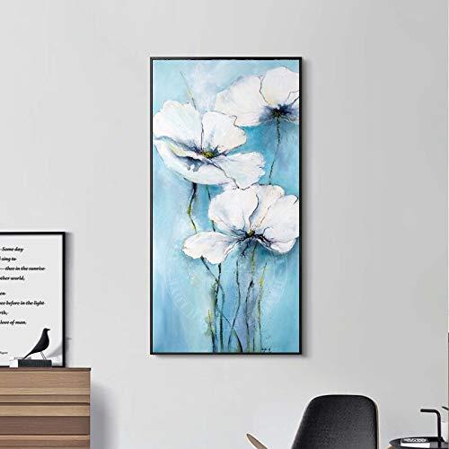 YuanMinglu Aquarell Blume Wandkunst Leinwand Pflanze Poster und Drucke Wohnzimmer Dekoration Malerei rahmenlose Malerei 30x60cm