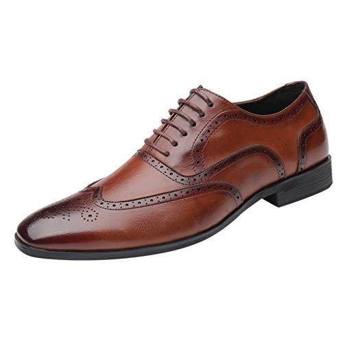 FNKDOR Schuhe Groß(37-46) Berufsschuhe Britischer Stil Herren Lederschuhe spitz Geschäft Schnürsenkel Freizeitschuhe Oxford Leder Hochzeitsschuhe Braun 38 EU