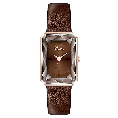 YIXINHUI Reloj de Cuarzo Temperamento Elegante Pequeño Corte Cuadrado Dial Dial Damas A Prueba de Agua Reloj de Cuarzo Creativo Moda Regalo Moda Reloj de Moda (Color : Brown)