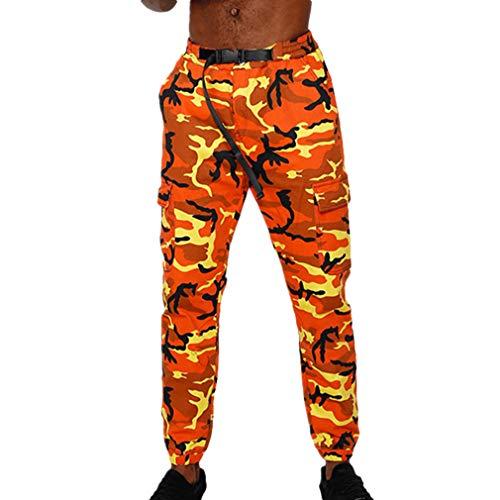 Fangcheng Herren Jogger Camo Hosen Camouflage Cargo Pants Herren Military Armee Hosen Herren Hip Hop Hosen Orange M
