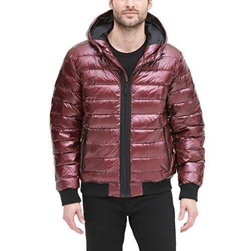 DKNY Herren Quilted Performance Hooded Bomber Jacket Daunenalternative, Mantel, Beet Red Pearlized, XX-Large