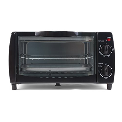 """Westinghouse WTO1010B 4-Slice Toaster Oven, 10-Liter, 14.57""""X11.42""""X7.95"""", Black"""