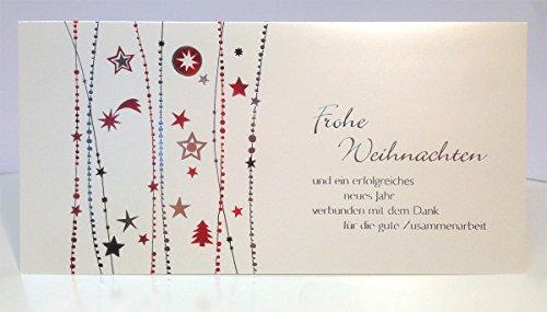 Din lang Firmen-Weihnachtskarte Zusammenarbeit Perlmutt mit Silber und Rot