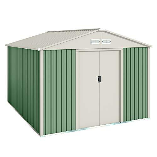 Hoggar by Okoru Caseta metálica Verde/Beige para Almacenamiento 7,86 m2 261x301x198cm. Cobertizo Jardin