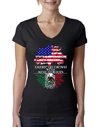 Wild Bobby American Grown with Mexican Roots   Womens Mexico American Pride Junior Fit V-Neck Tee, Black, Large