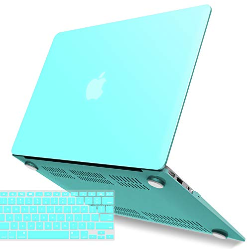 IBENZER MacBook Air 13 Inch Case A1466 A1369, Hard Shell Case with Keyboard Cover for Apple Mac Air 13 Old Version 2017 2016 2015 2014 2013 2012 2011 2010, Turquoise, A13TBL+1 N