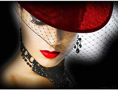 LSDEERE Malen nach Zahlen Abstrakte Kunst-Mode Frau mit Hut-Für Erwachsene 40X50 cm Handgemalte Ölgemälde für Wandkunst Bild Home Decoration