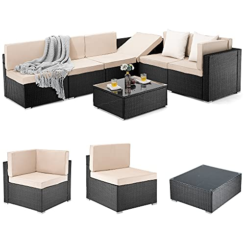 Pamapic 7 Pieces Outdoor Sectional, Wicker Patio Sectional Sofa Conversation Set, Rattan Sofa with...