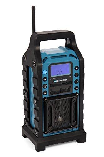 BLAUPUNKT BSR 10 Baustellen Radio mit Bluetooth und Akku, Baustellen Radio mit UKW PLL Radio, USB, SD, AUX-IN, stoßfest, spritzwassergeschützt, robustes Gehäuse, 8 Watt, 13 V, mit Netzteil, blau