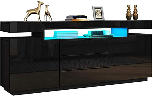 UYZ Modernes Sideboard 160cm 2 Türen 3 Schubladen Hochglänzender Frontschrank Buffetschrank Multifunktionale TV-Standeinheit mit RGB-LED-Licht (schwarz)
