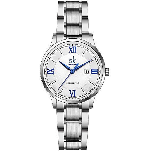 SK Relojes lassic Business para Mujer con Correa de Acero Inoxidable y Elegante Reloj con Calendario para Mujer (Roman Number-Silver Steel Band)