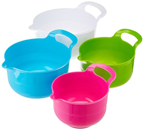 Gourmet Home Products 136744 Polypropylene Batter Bowl Set with Non Skid Bottom 4 Piece  White