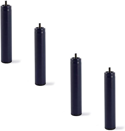 HOGAR24 4 Patas de somier ó Base tapizada, metálicas, cilíndricas con Rosca 25,5CM