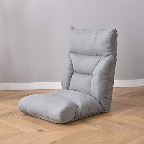 Sillón de suelo ajustable con 6 posiciones, acolchado y plegable, con esponja de alta resistencia, algodón transpirable y tela de lino, sofá reclinable con funda extraíble, color gris