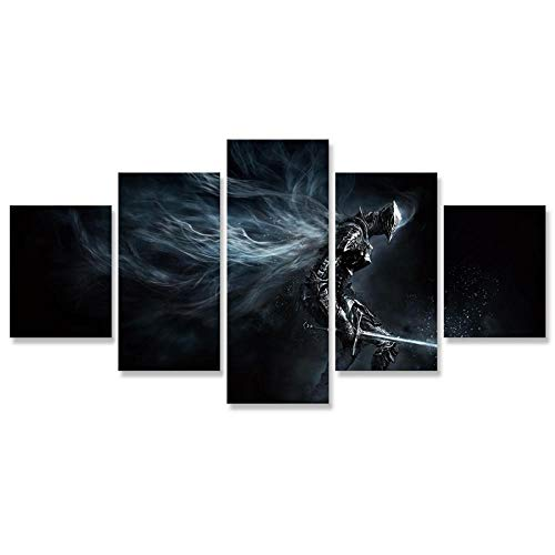 Lucellgh Cuadro sobre Lienzo 5 Piezas Samurai Tejido No Tejido Impresión Artística Imagen Gráfica Decoracion De Pared 150Cmx80Cm