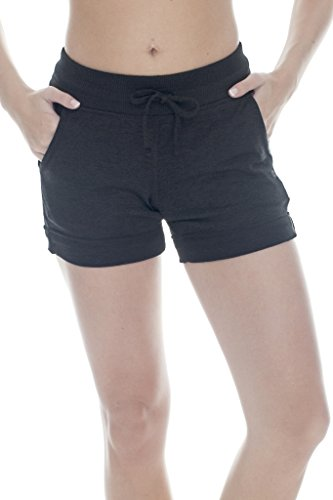 90 Degree By Reflex Soft Comfy Activewear Lounge Shorts Pockets Drawstring Women - Heather Grey - 2X