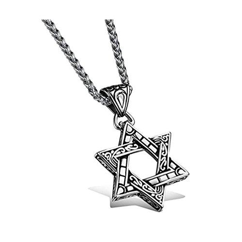 Biker Pulsera de la estrella de David de los hombres de acero inoxidable colgante collar plata negro–con cadena