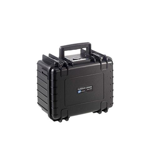 B&W Outdoor Case Hartschalenkoffer Typ 2000 mit Schaumstoff (Hardcase Koffer IP67, SI Würfelschaum, wasserdicht, Innenmaß 25x17,5x15,5cm, Schwarz)
