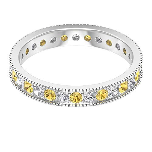 Rosec Jewels 10 quilates oro blanco redonda round-brilliant-shape H-I Yellow Diamond Citrine
