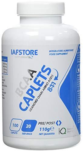 Iafstore Supplements BCAA Caplets 8:1:1 integratore alimentare a base di aminoacidi ramificati BCAA qualità Kyowa nel rapporto 8:1:1 tra L-Leucina, L-Isoleucina e L-Valina (100 compresse)