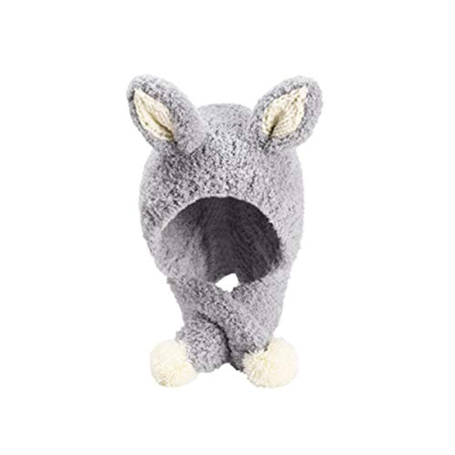 HUAXM Säuglingsschätzchen Kinder Wintermütze Schal, warme Kaschmir Earmuff Schal, weich und dick, geeignet für Jungen, Mädchen, Babys, 1-6 Jahre alt,Grau