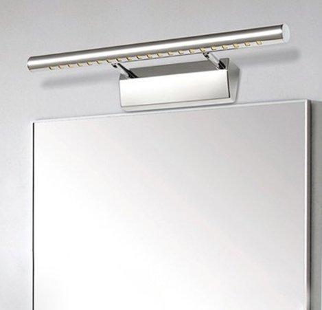 Unicoco 5050 SMD - Lámpara de pared para espejo de baño (luz blanca fría), acero inoxidable, Plateado, 50