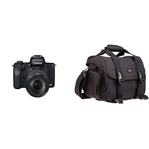 Canon EOS M50 spiegellos Systemkamera 241 MP dreh und schwenkbares 75 cm 3 Zoll mit Objektiv EF M 18 150mm is STM schwarz Amazon Basics Grose L Umhangetasche fur SLR Kamera und Zubehor