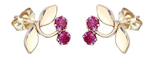 Hobra-Gold Kinder Ohrstecker Gold 585 kleine Kirschen mit pink Zirkonias Ohrringe Kirsche